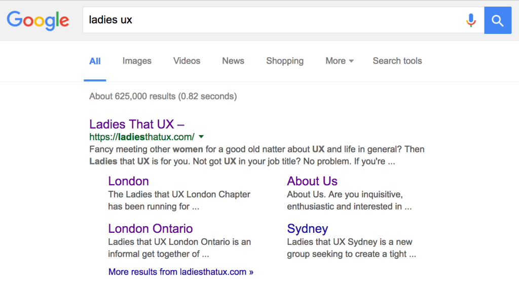 Ladies that UX London Ontario Google search results.