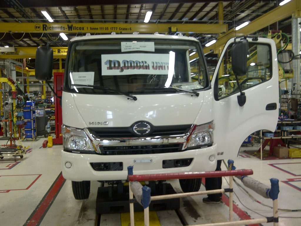 hino truck on assembly line